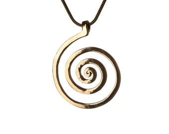 Spiral Pendant Brass  - Necklace Tribal jewellery  Handmade Free UK delivery BP1