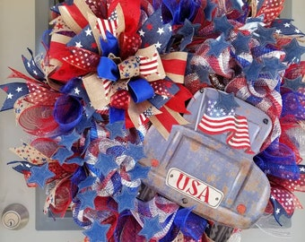 Americana, Old Vintage Truck, Deco Mesh Wreath, denim star, Independence Day Wreath, Patriotic,  4th of July, Front Door Wreath