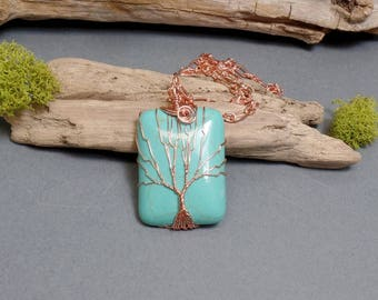 Turquoise Tree of Life Necklace - Blue Necklace - Gemstone Necklace - Turquoise Pendant - Copper Necklace - Rectangle Necklace