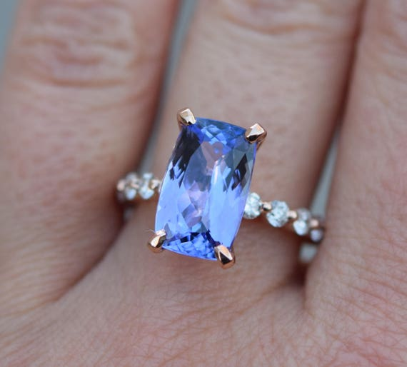 Ultra-Violet Tanzanite Ring. Color of 2018. Rose Gold Engagement Ring Lavender Mint Tanzanite cushion cut engagement ring 14k rose gold.