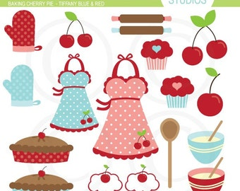 Baking Cherry Pie - Light Blue and Red - Clipart Set - Digital Elements Commercial use for Cards, Stationery and Paper Crafts and Products