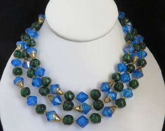Blue & Green Bead Necklace - Vintage Triple Strand, West Germany Necklace