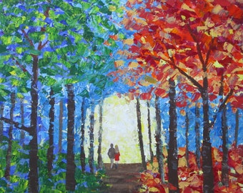 Trees Couple Walking Palette Knife Painting Canvas Landscape Forest Impasto Autumn Fall Fantasy Surreal 18 x 18