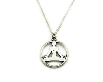 Yoga Necklace Zen Necklace Meditation Necklace Lotus Pose Necklace Zen Jewelry Yoga Jewelry Meditation Jewelry