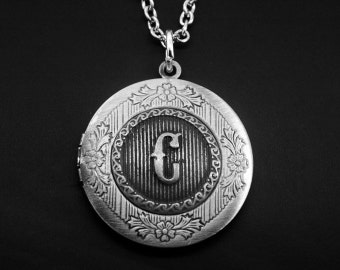 Silver Initial C Locket Necklace -Letter C Photo Locket -Monogram Locket Necklace -Wedding Jewelry -Your Choice of A to Z