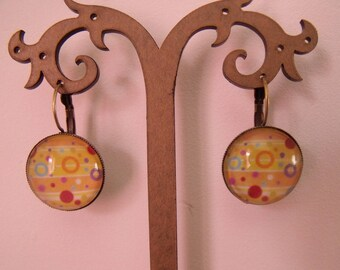 SALE earrings 20mm blue orange yellow glass cabochon