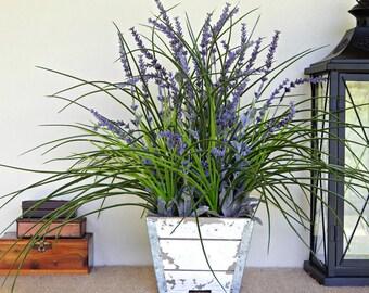 Lavender Arrangement, Farmhouse Centerpiece, Rustic Floral, Artificial Flower Arrangement, Artificial Plant, Country Cottage Decor