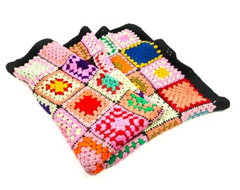 Vintage colorful hand crocheted traditional granny square afghan, boho chic