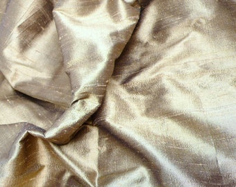 Dull Gold-Black Pure Indian Silk Dupioni - DEX 323 - Half yard