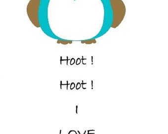 Hoot Hoot Owl I Love You Greeting Card Printable