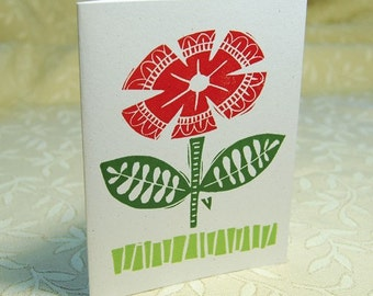 Red Flower Letterpress Note Cards