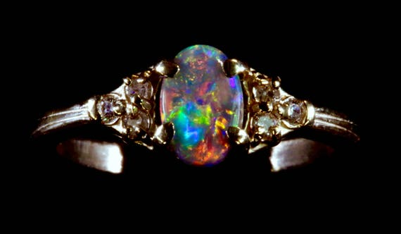 gem diamonds opal blue bright semi oval gold flashopal black engagement with rings diamond ring