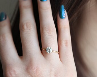 Prong Diamond Ring, Solitaire Diamond Ring, Solitaire Moissanite Ring, Prong Set Engagement Ring, Yellow Gold Engagement Ring, Rose Gold
