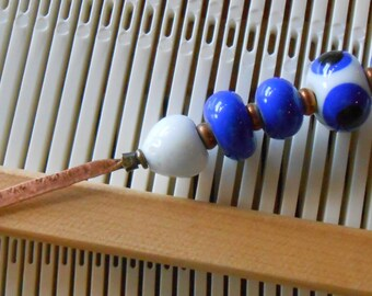 Weaving Sleying Tool Copper with Dark Blue Handcrafted Lampwork Beads