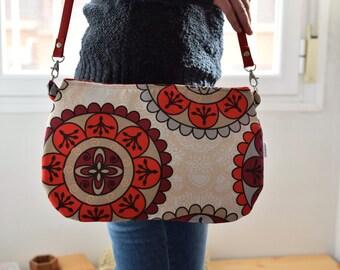 Mandala bag,mandala clutch,red clutch,red bag,red purse,flowers bag,crossbody bag,red handbag,printed bag,spring bag,big print,leather bag
