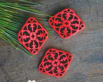 Ruby Red Laser Cut Link - DIY Jewelry