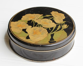 Vintage Tin with Hand Painted Dogwoods - 1940s - Black Cream Green