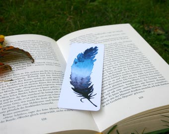 """Bookmark """"Feather"""" watercolor print, with rounded corners"""