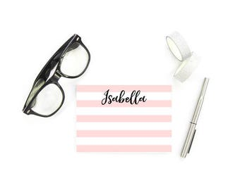 Striped Stationery for Girls, Personalized FLAT Note Cards, Monogram Gifts for Girls, Personalized Stationary Girl, SET of 10 Cards