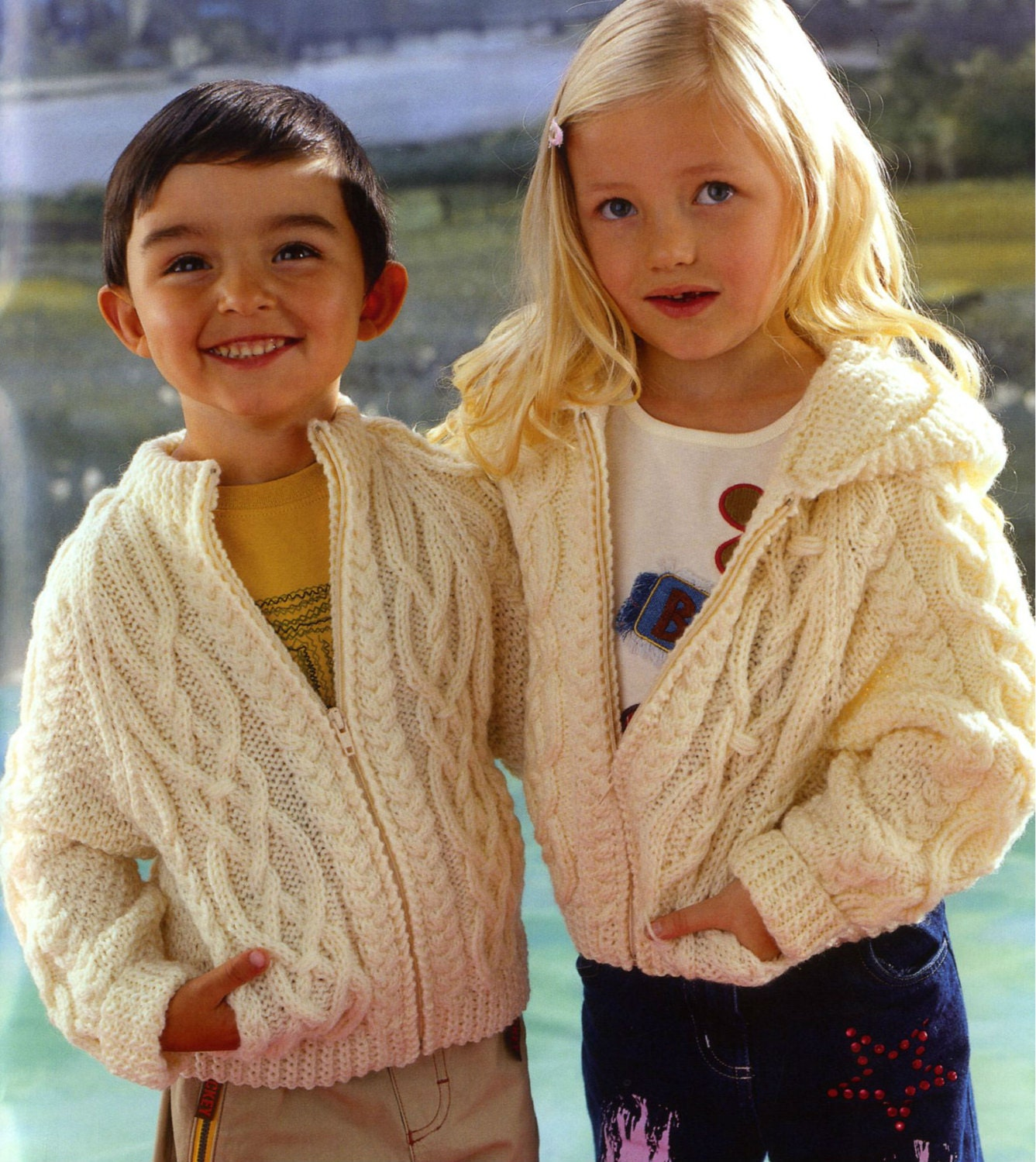 Vintage Knitting Pattern Childrens Zipped Hooded Jacket Cabled ...