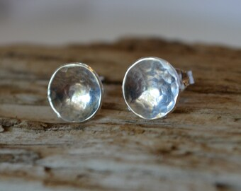 Silver Post Earrings Hammered Domed Sterling Silver Earrings Reclaimed Sterling Silver Hand Forged Eco Friendly Gift for Mom Daughter Grad