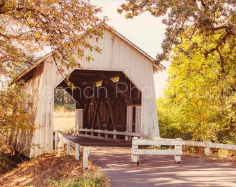 Covered Bridge Art - Covered Bridge Print - Rustic Home Decor - Farm Decor  Autumn Home decor - Autumn Art print - Fall Photography - Oregon