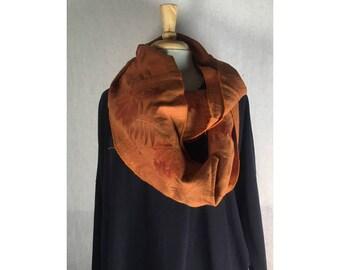 Infinity Boho Loop Circle Scarf -Rust Orange Linen w/ Leaf Art  Hand printed Scarves  Ready to Ship