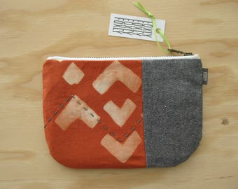 Hand Printed Fabric Pouch - Zipper Pouch with Geometric Print and Handmade Fabric and Hand Embroidery