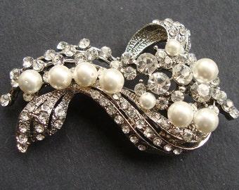 Vintage Style Bridal Brooch, Pearl & Rhinestone Wedding Pin Brooch, Art Deco Style Brooch, Old Hollywood, Bridal Jewelry,  BETTE