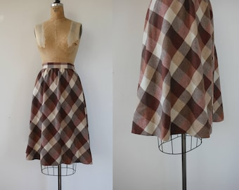 vintage 1970s skirt / 70s wool plaid skirt / 70s brown check skirt / 70s wool skirt / 70s brown cream skirt / size large XL 23 waist