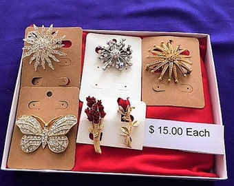 6 Vintage Fashion Jewerly Brooches, Pins. 15 Dollars Each Item On The Card!