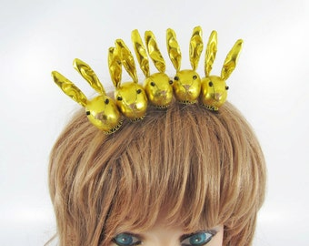 MADE-TO-ORDER ( 1 - 2 Weeks) Bunny Hair Clip-Yellowish Gold