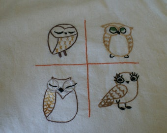 Hand embroidered owl tote