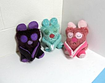 Plush Sleepy Bear - Handmade Teddy Bear Toy - OOAK Sleepy Bear Plush - Cute Plush - Cute Sleepy Bear Plush Toy - Gray & Pink Bear Plush