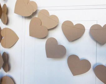 Kraft Paper Heart Garland, Wedding Garland, Rustic Heart Garland, Party Decoration, Bridal Shower Decoration, 10'