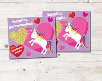 Kids Valentines Cards, girls valentines cards, glitter valentines cards, printable valentines, magical valentines, classroom PDF