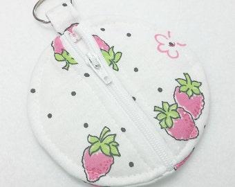 PinkStrawberries Pouch/HandmadeEarbudPouch/EarbudPouch/EarbudCase/StrawberrylCase/Earbuds/PinkStrawberries/StrawberryCoinPurse/CoinPurse