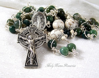 St Brigid Rosary Beads Irish Celtic Cross Bridget St Patrick Green Fancy Agate White Magnesite Wire Wrapped Unbreakable Traditional Catholic