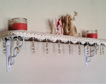 Wooden Shelf with Ivory Beaded Trim and White Steel Brackets