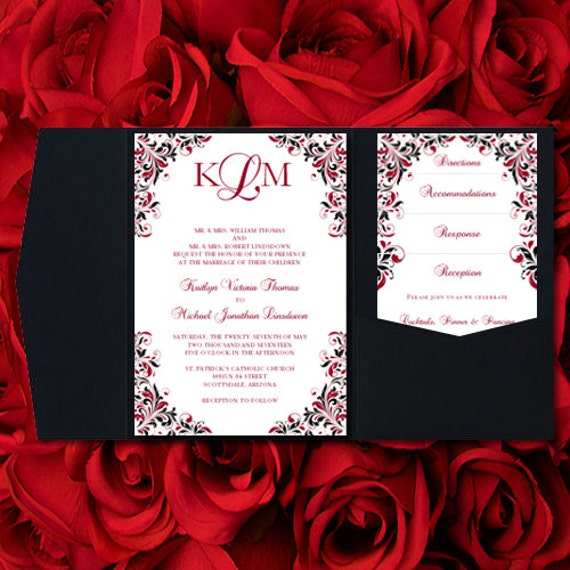 Red and black wedding invitations kaitlyn apple red black pocket invitations make your own wedding invitations diy your colors you print