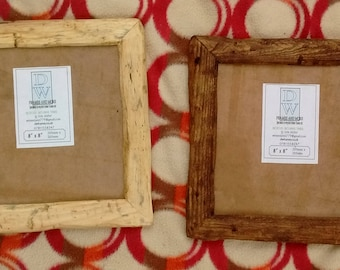 "Rustic/driftwood style frames in locally sourced,recycled hardwood.Medium dark or clear beeswax finish.To fit 8""x8"".Free U.K. shipping"