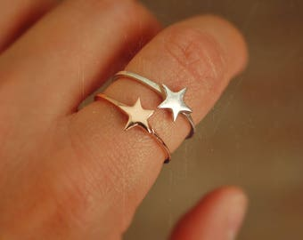 Star Ring in Sterling Silver and Rose Gold - Size 8 - Star Ring - - Boho Gypsy Star Ring