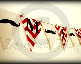 Mustache Banner-Little Man Party-Mustache Party-Gender Reveal-Baby Shower-Mustache bunting-Customize YOUR name-Party Banner-Red Chevron-