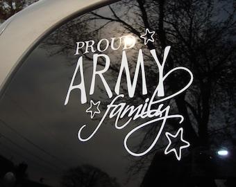 Vinyl Car Window Decal 5h x 6w - Proud Army Family
