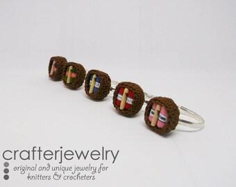 crochet ring basket, adjustable handmade ring, gift for her, boho summer ring, friendship ring, yarn ring, fiber art jewelry, birthday gift