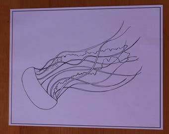 Hand Drawn Jellyfish Coloring Page - Adult Coloring Page