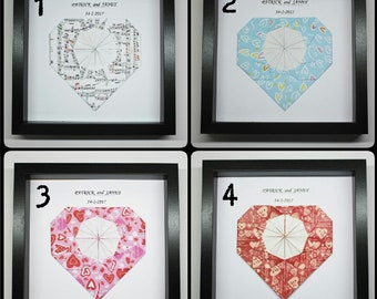 You Pick Frame - Origami Heart For Anniversary, Wedding Or Unique Personalized Gift