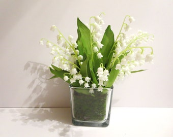 2nd anniversary gift - Lily of the valley  arrangement -Anniversary  Gift -Mother's day gifts arrangement