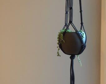Black Macrame Plant Hanger - 100% Cotton Cord
