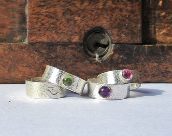 Sterling Silver 925 Textured Gem Stone Toe Ring, Sterling Silver 925 Gem Stone Midi Ring